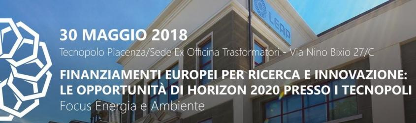 Le opportunità di Horizon 2020 presso i Tecnopoli - Focus Energia e Ambiente
